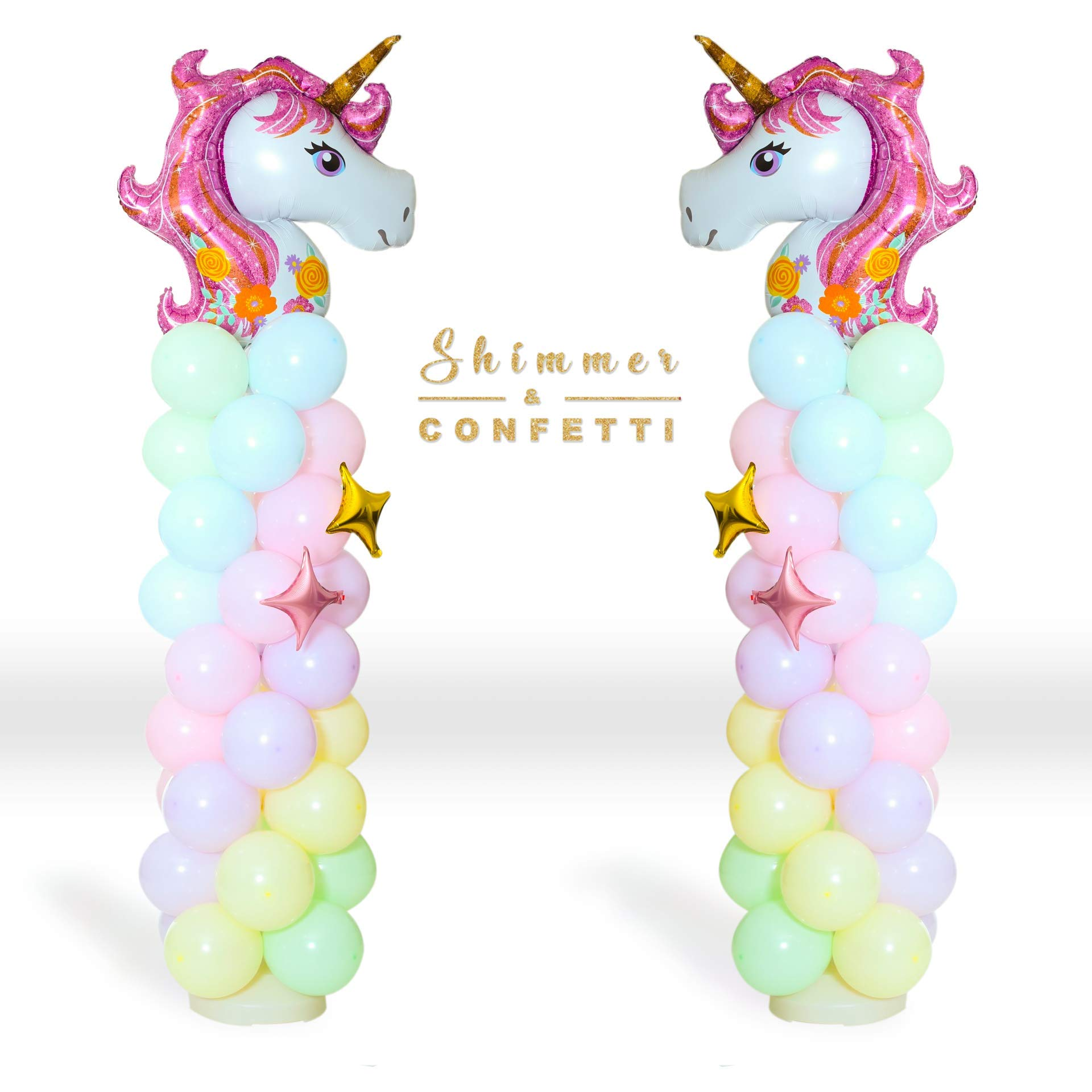 Shimmer and Confetti 2 Columns XL Sturdy Base, Poles and Unicorn Balloons Size 5 Feet Tall, 11-pound Water-Fillable Base, 2 Giant Unicorn Balloons, 90 Pastel Balloons, Stars, Pump, Glue Dots, Ribbons