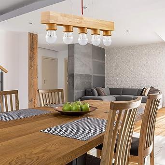 GBLY lampada a sospensione vintage in legno E27 lampada da tavolo rustica 120cm lampadario regolabile in altezza per sala da pranzo soggiorno camera da letto cucina bar illuminante non incl.
