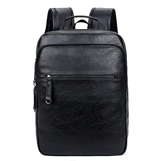 a9cb70e8809b Amazon.com  UKXMNC Trend Men Leather Backpack Waterproof Large Capacity  Laptop Backpacks For Teenager Boys Casual Daypacks Male Black 14 Inches   Sports   ...