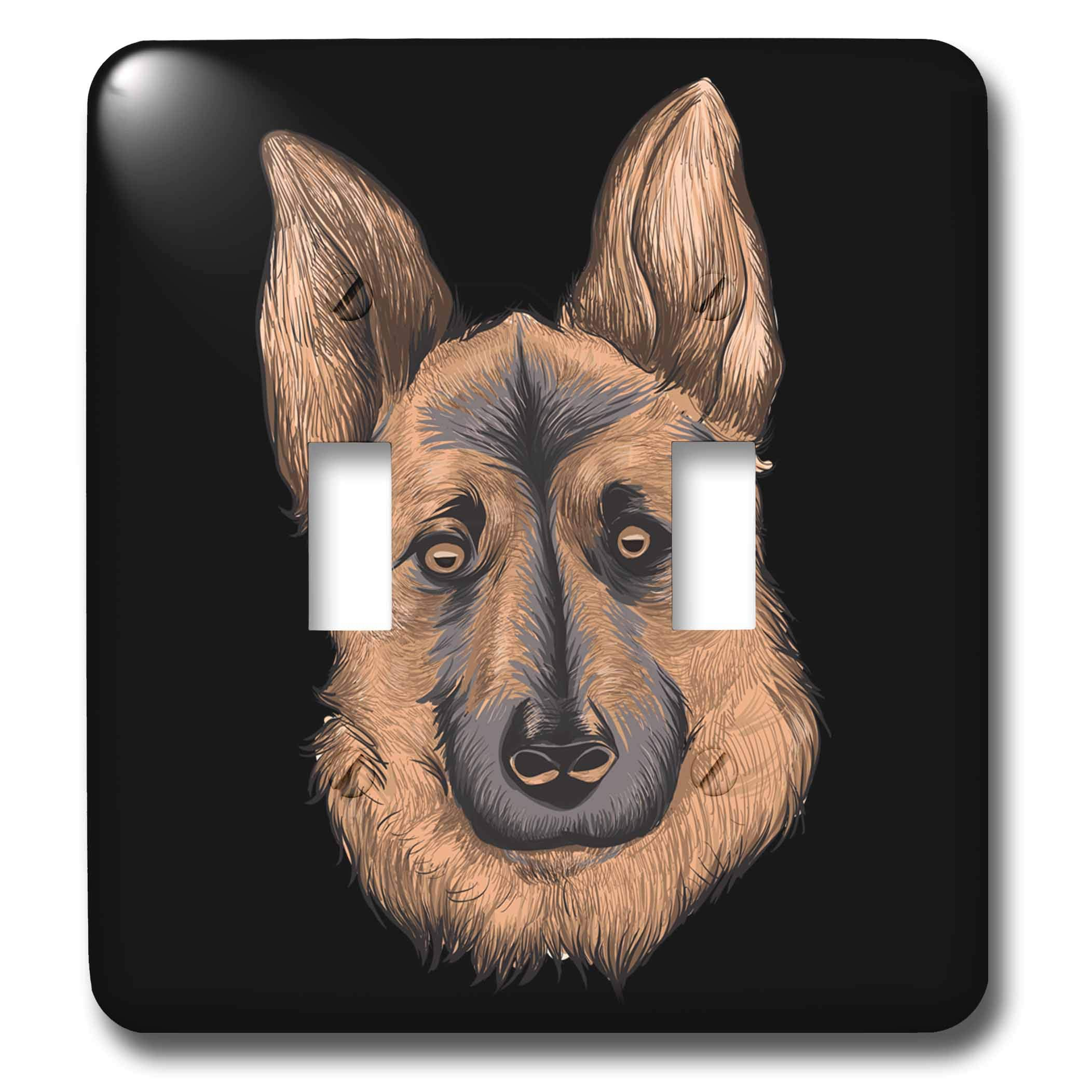 3dRose Sven Herkenrath - Animal - Portrait of a Gorgeous German Shepherd Dog on Black Background - Light Switch Covers - double toggle switch (lsp_290744_2)