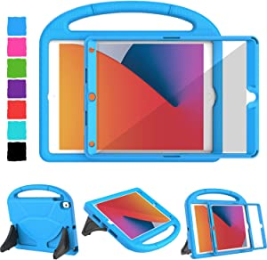 TIRIN New iPad 8th Generation Case, iPad 7th Generation Case, iPad 10.2 Kids Case Built-in Screen Protector Lightweight Handle Stand Shockproof Case for iPad 10.2 inch 2020 8th/ 7th Gen 2019 - Blue