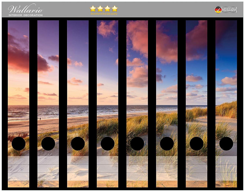 Sonnenuntergang Meer Wallario Ordnerrücken selbstklebend für 9 breite Ordner