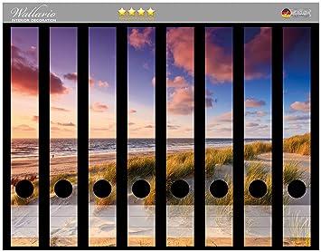 Wallario Ordnerrücken selbstklebend 12 schmale Ordner Sonnenuntergang Strand