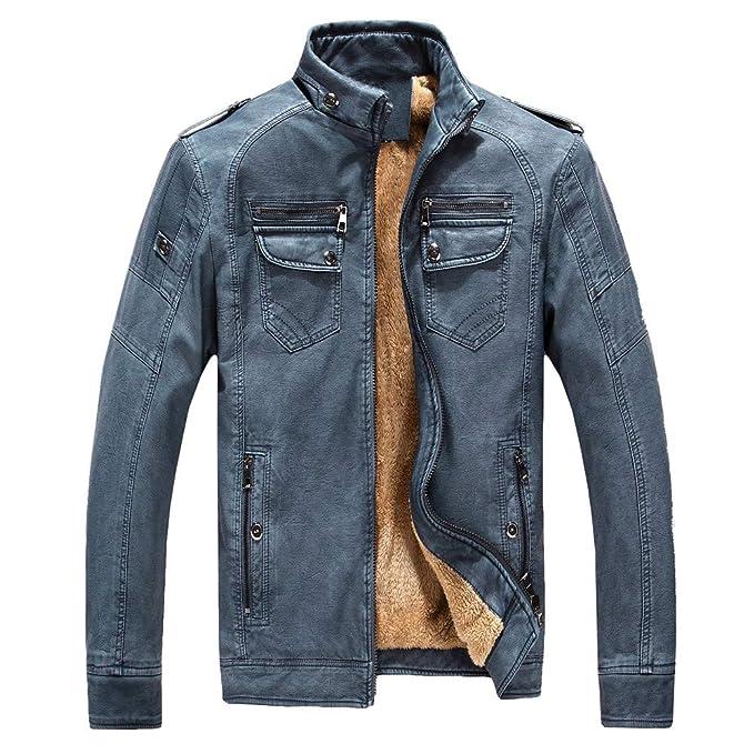 Bestow Hombres de Gran tamaño Camuflaje de Invierno Blusa de Cuero Vintage Abrigo Outwear Top Blusa