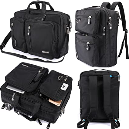 Amazon Com Freebiz Laptop Backpack Messenger Bag Hybrid Briefcase Backpack Vintage Bookbag Rucksack Satchel Nylon Water Resistant For 15 6 Inch Laptop Computers Accessories