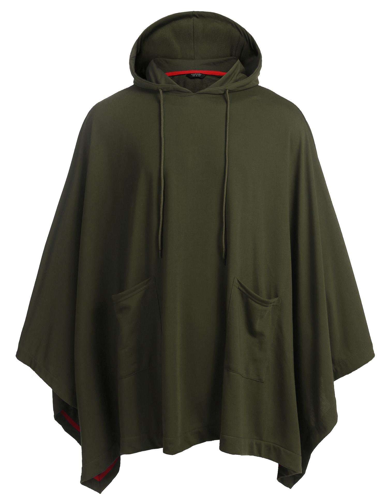 COOFANDY Unisex Casual Hooded Cloak Poncho Cape Coat With Pocket,X-Large,Army Green