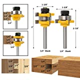 """Yakamoz 1/4 Inch Shank Tongue and Groove Router Bit Set 3/4"""" Stock 3 Teeth T Shape Wood Milling Cutter Woodworking Tool"""