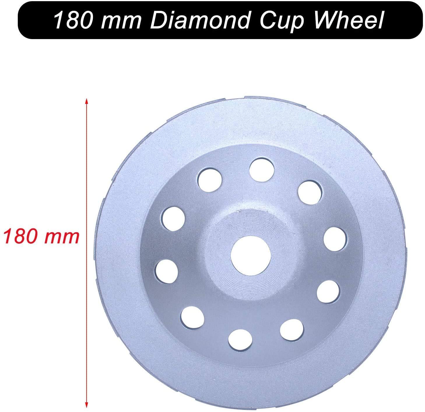 polissage de meuleuse angulaire Poweka marbre brique granit Disque de tasse diamant 180 mm x 22,2 mm avec double rang/ée pour couper b/éton pierre Meule de coupe diamant