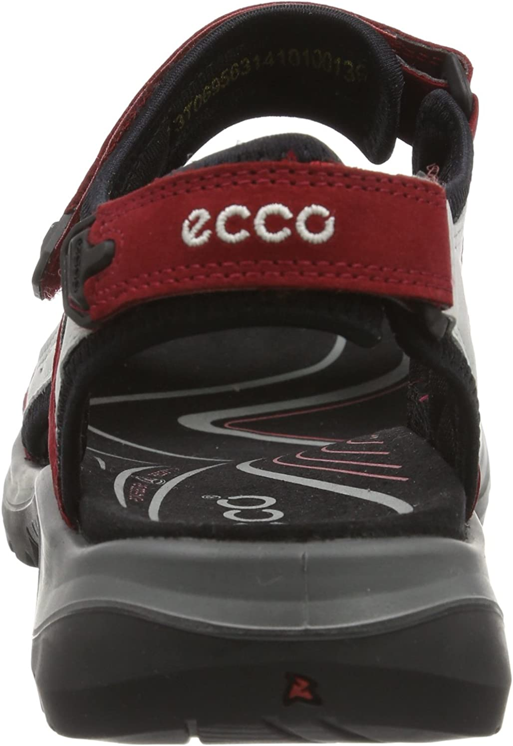 ECCO Women's Offroad Hiking Sandals Red Chilired Concrete Black 55287