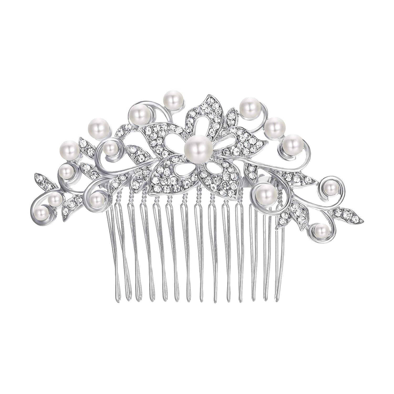 TENYE Cristal Autrichien Crème Perle Artificielle Mariage Fleur Feuille Peigne Clair Ton d'argent 13001651-1