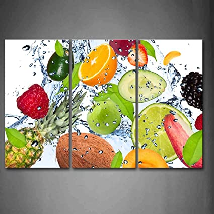 Colorful Various Fruit With Splash Water Wall Art Painting The Picture  Print On Canvas Food Pictures