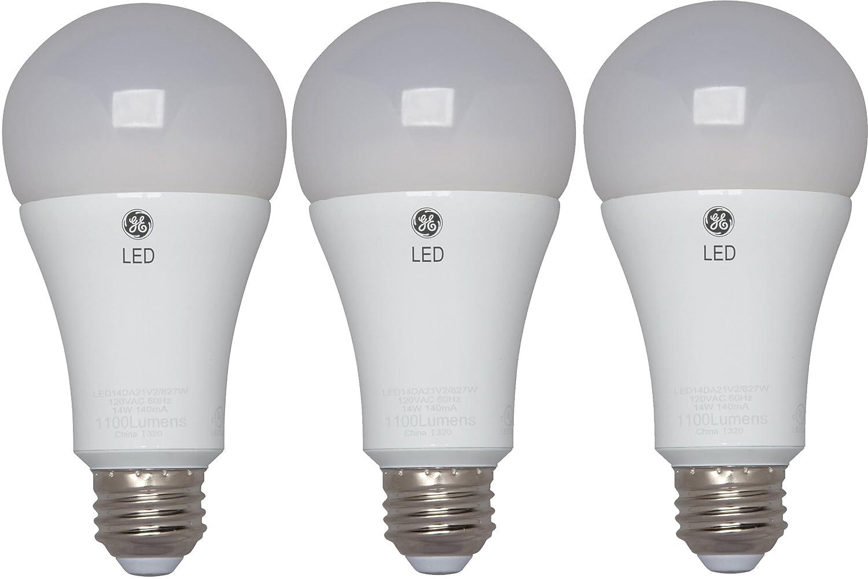 GE Lighting 37639 Energy-Smart LED 15-watt, 1600-Lumen A21 Bulb with Medium Base, Soft White, 3-Pack, 3 Piece