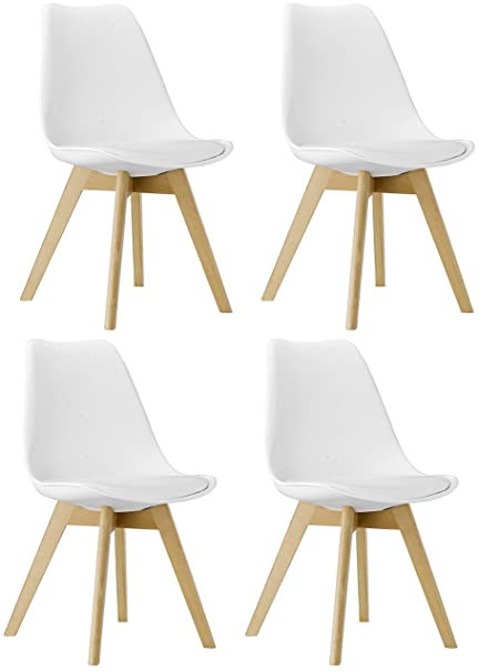 Phenomenal Btexpert M5079 Naba Modern Midcentury Wood Leg Soft Padded Upholstery White Dining Chairs Set Of 4 Andrewgaddart Wooden Chair Designs For Living Room Andrewgaddartcom