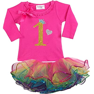 Bubblegum Divas Baby Girls' 1st Birthday Rainbow Gold Long Sleeve Tutu Outfit