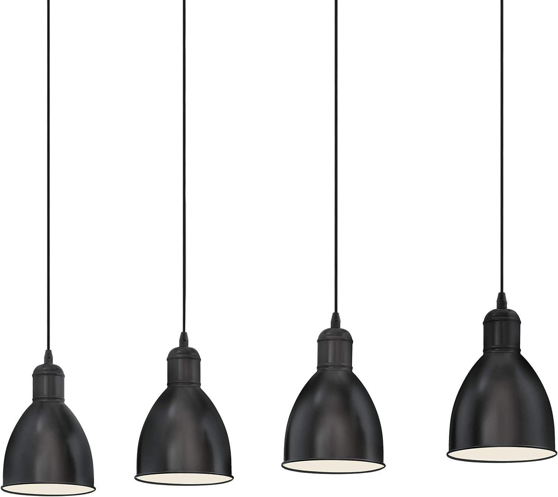 Retro Lampe wei/ß Fassung: E27 Nachttischlampe aus Stahl EGLO Tischlampe Priddy 1 flammige Vintage Tischleuchte im Industrial Design Schalter Farbe: Schwarz inkl