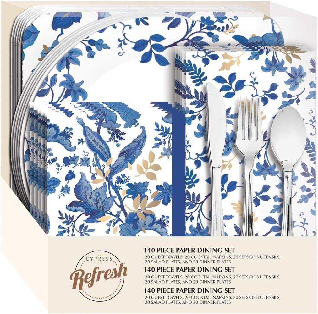 Blue Floral Paper Dining Set, 85 Pieces - 10 x 3 x 11 Inches