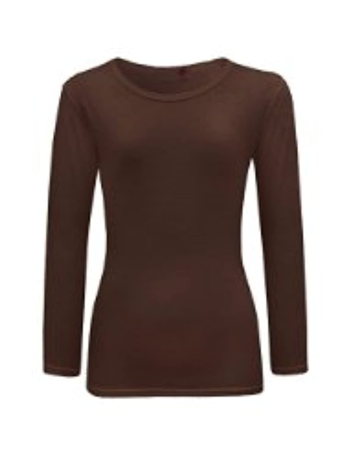 Girl Kids Long Sleeve Cotton Crew Neck Plain Brown Top/T-Shirt 7 8 ...