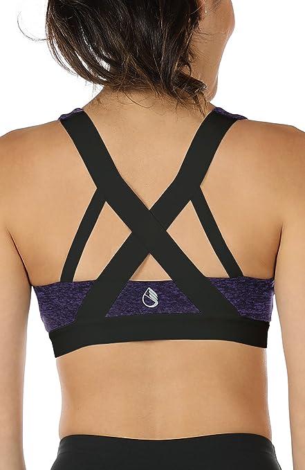 TALLA M. icyzone Sujetador Deportivo Ejercicio Fitness Ropa Interior de Espalda Abierta para Mujer
