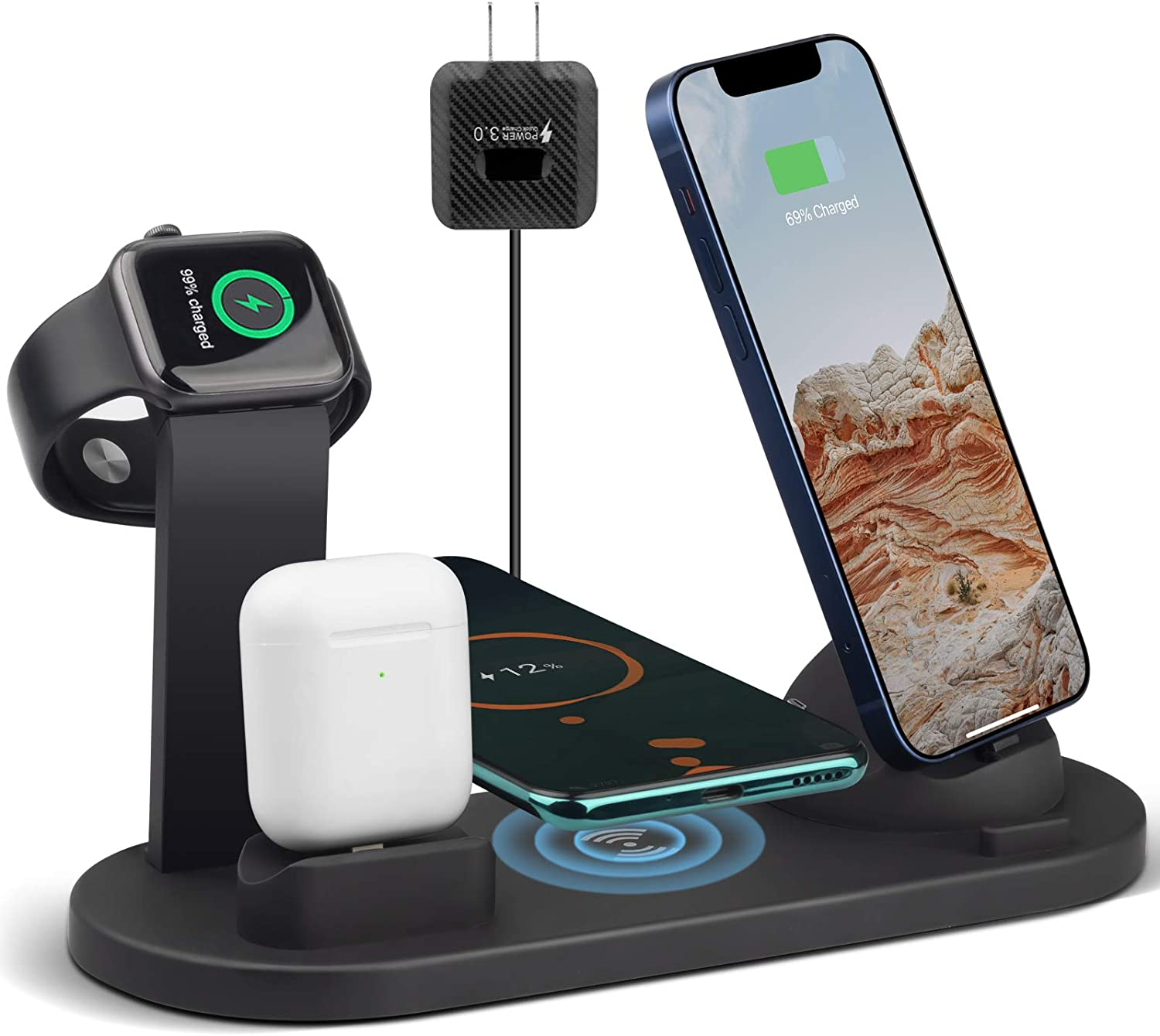 4 in 1 Wireless Charger Compatible with iPhone 12/11/11 Pro Max/X/Xs/XR/8 Plus Samsung Galaxy S9 S8, Fast Wireless Charging Station for AirPods Apple Watch Charger Stand Dock for Multiple Devices