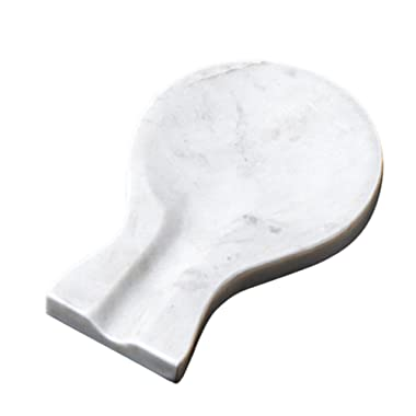 Creative Home 32741 Natural White Marble Spoon Rest Utensil Holder, 7.9  x 5.3  x 0.8  H
