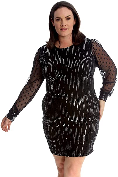 26c61dce Nouvelle Collection New Ladies Plus Size Dress Womens Chiffon Sleeve Sequin  Bodycon Midi Sale: Amazon.co.uk: Clothing