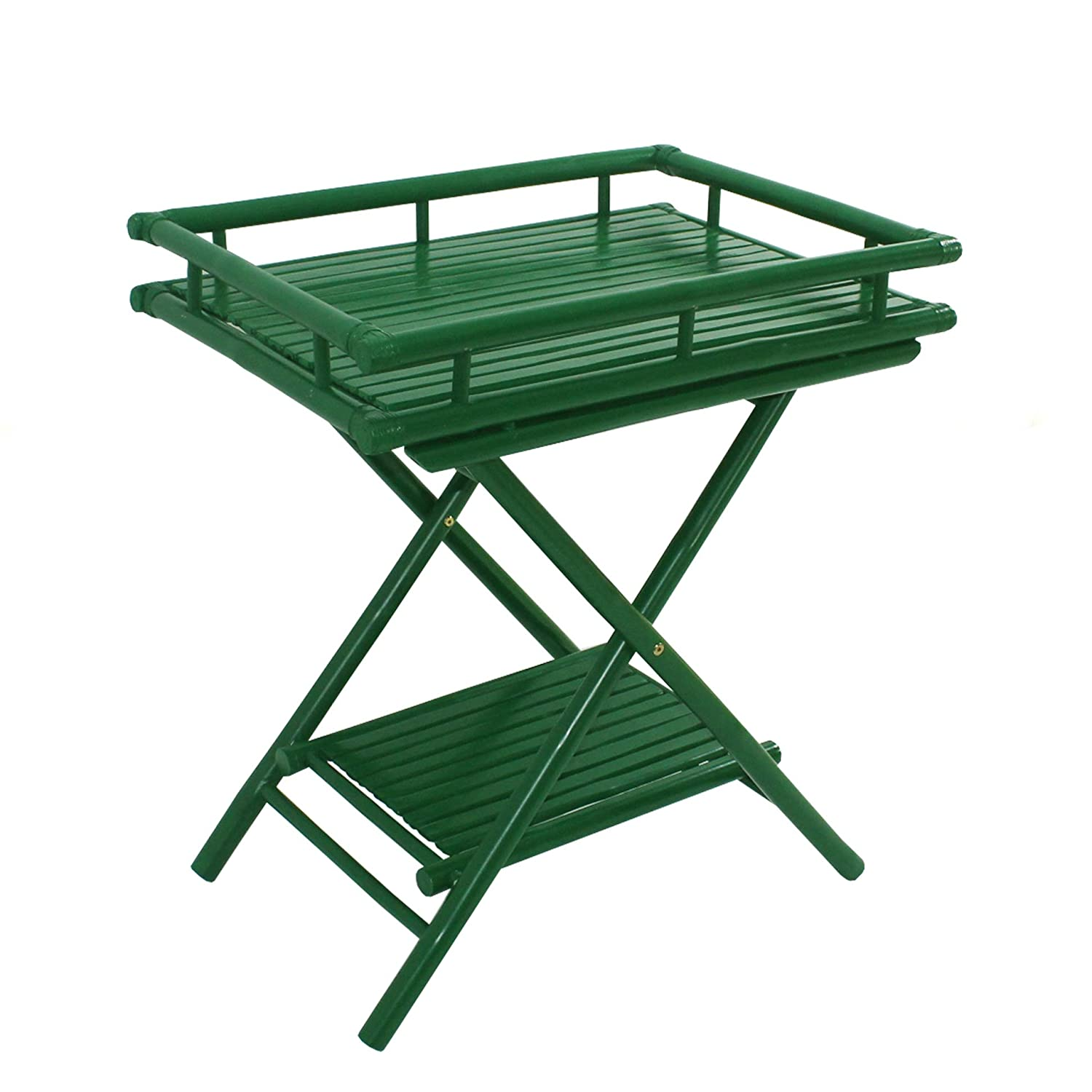 Statra L309G Bamboo Butler Table with Removable Serving Tray Green