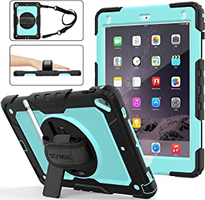 iPad 6th/5th Generation Case, New iPad 9.7 Inch 2018/2017 Case [Full-Body] & [Shock Proof] Armor Protective Case with 360 Rotating Stand & Strap for iPad 5th/6th/ Air 2/ Pro 9.7 (SkyBlue+Black)