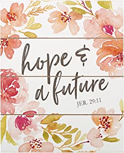 Christian at Gifts Wall Art Home Décor | Hope and A Future – Jeremiah 29:11 Bible Verse Inspirational Wall Plaque | Floral Watercolor Wooden Wall Art