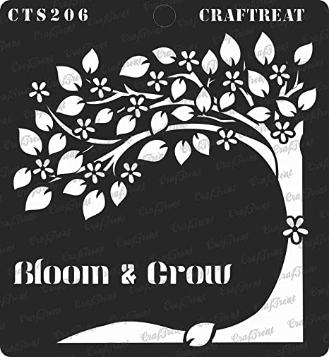 Blooming Plants and Bloom and Grow CrafTreat Stencil 2 pcs - Reusable Painting Template for Home Decor Crafting Scrapbook and Printing on Paper Wall Wood 6x6 inches DIY Albums