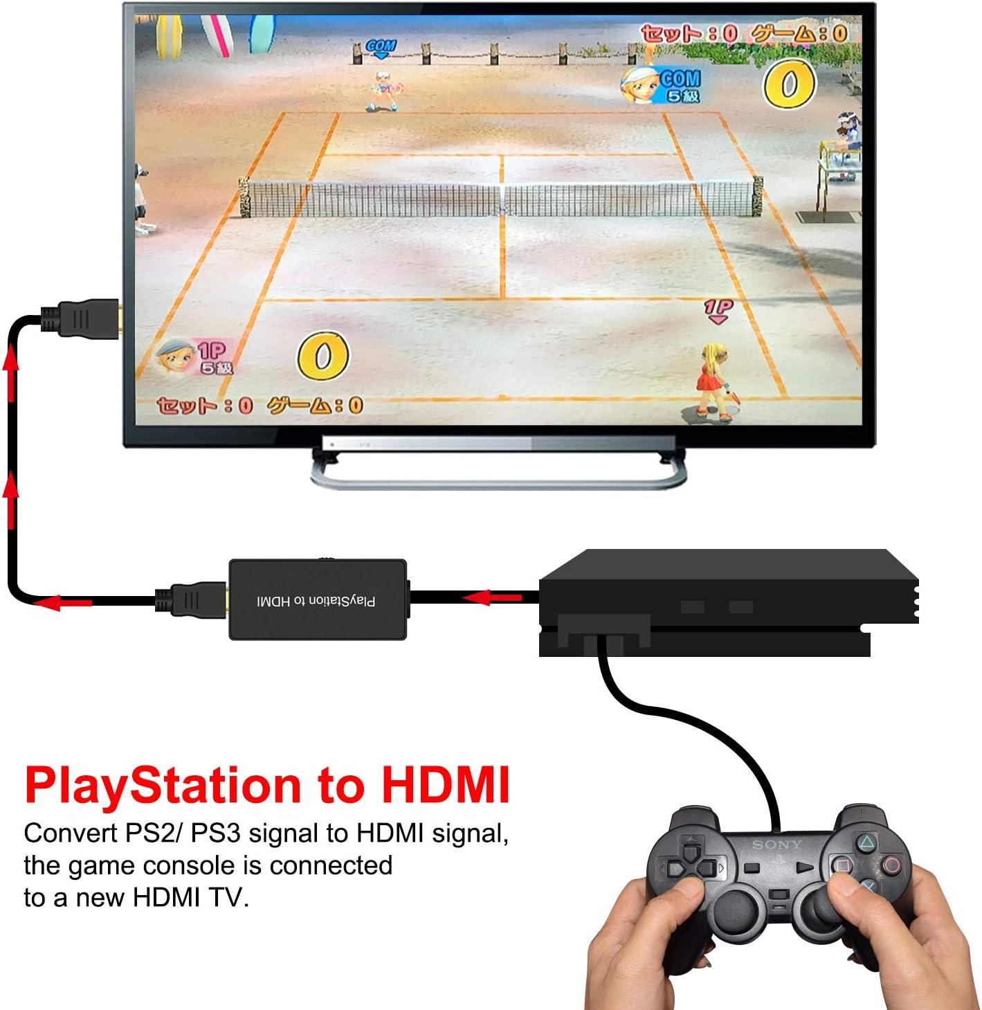 Conversor PS2 a HDMI, adaptador PS2 a HDMI, compatible con Sony Playstation 2/Playstation 3, conecta una consola de juegos PS2 a un nuevo televisor HDMI: Amazon.es: Salud y cuidado personal