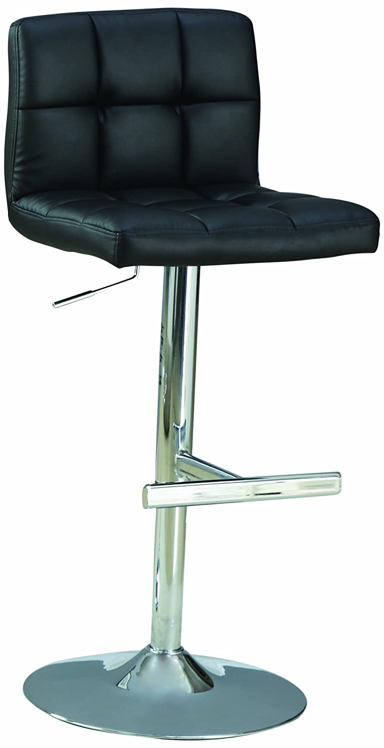 "29"" Adjustable Bar Stools Chrome and Black (Set of 2)"