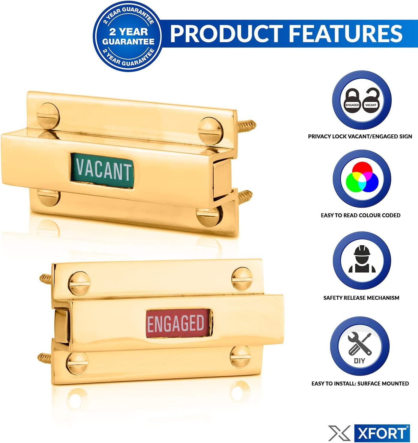 Toilet Shower Or Cubicles Door Lock Bolt with Engaged Vacant Door Sign for Bathroom XFORT/® Brass Indicator Bolt Lock with Slide Release Privacy Bathroom Lock with Emergency Release