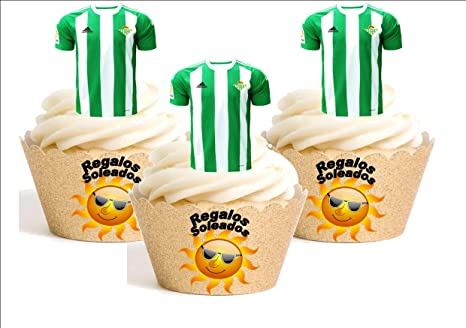 12 x Real Betis Camiseta de Fútbol 2016-17 Decoración Comestible Personalizacion de Reposteria Feliz
