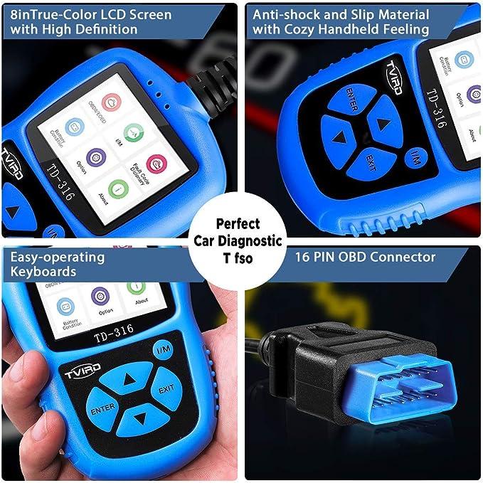 Obd2 Diagnosegerät Tvird Auto Diagnosewerkzeuge Universal Diagnose Scanner Für Alle Fahrzeuge Ab 2000 Mit Obd2 Eobd Can Modi Standardem 16 Pin Obd Ii Schnittstelle Batterietest Code Reader Farbbildschirm Auto