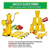 Mb Lifestyle Manual Fruit Vegetable Hand Juicer,6 In 1 Slicer Dicer Grater, 6 Plastic Glasses & Multi Cutter With Peeler ,(Yellow,Set Of 15)