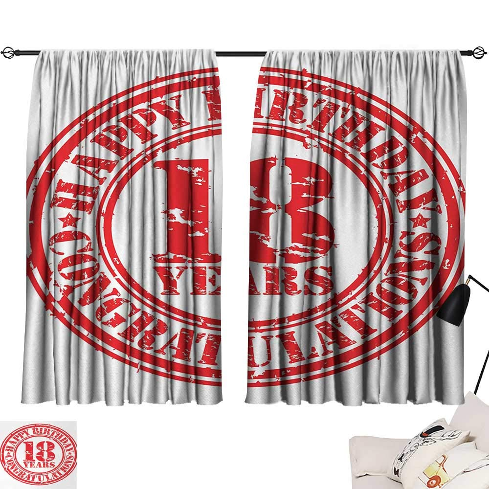 Jinguizi 18th Birthday Curtain Darkening Blackout Vintage Happy Birthday and Sweet Eighteen Stamp Icon Retro Image Print Woven Darkening Curtains Red and White W55 x L39