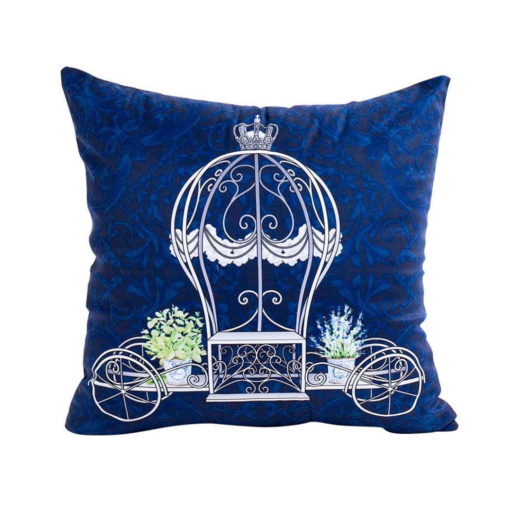 POCCIOL Plush Throw Cushion Cover Pillow Sofa Waist Throw Cushion Cover Home Decor Cushion Cover Case (B-blue)