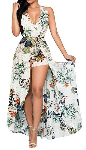 Lovaru Women's Floral Print Chiffon Flowing Boho Boyshorts Romper Dress for Beach