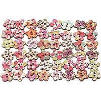Ogquaton 50 unids Botones de madera multicolores hechos