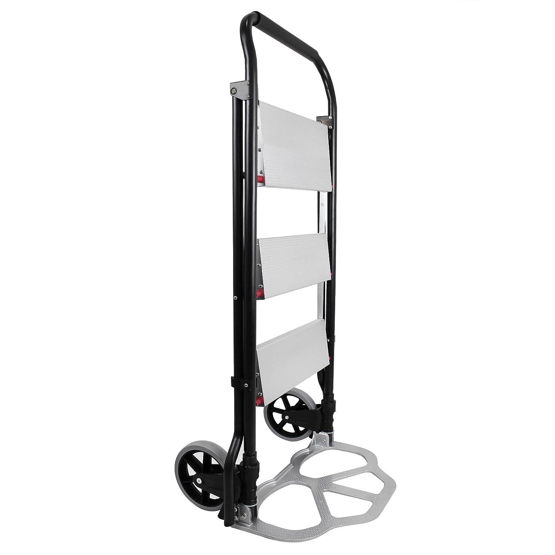 150 kg Todeco Dimensions du produit repli/é: 112 x 48 x 7,5 cm chariot /à main Diable de Transport Escabeau Pliant 2 en 1 Charge maximale: 100 kg escabeau