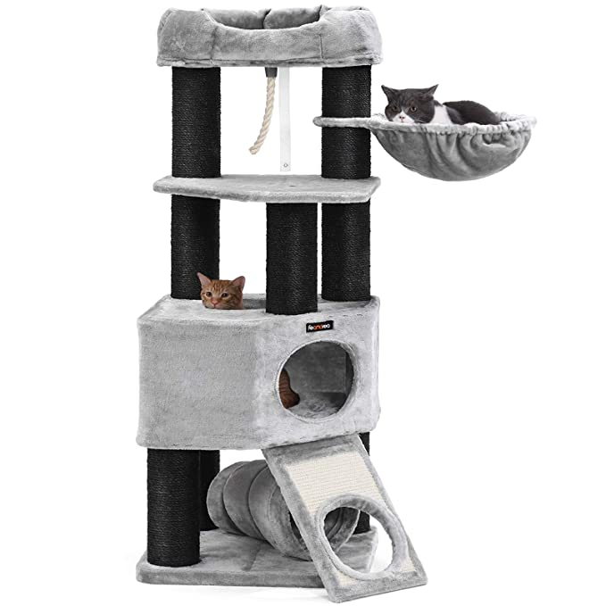 Feandrea Cat Tree, Large Cat Tower With Fluffy Plush Perch, Cat Condo With Basket Lounger And Cuddle Cave, Extra Thick Posts Completely Wrapped In White Sisal by Feandrea