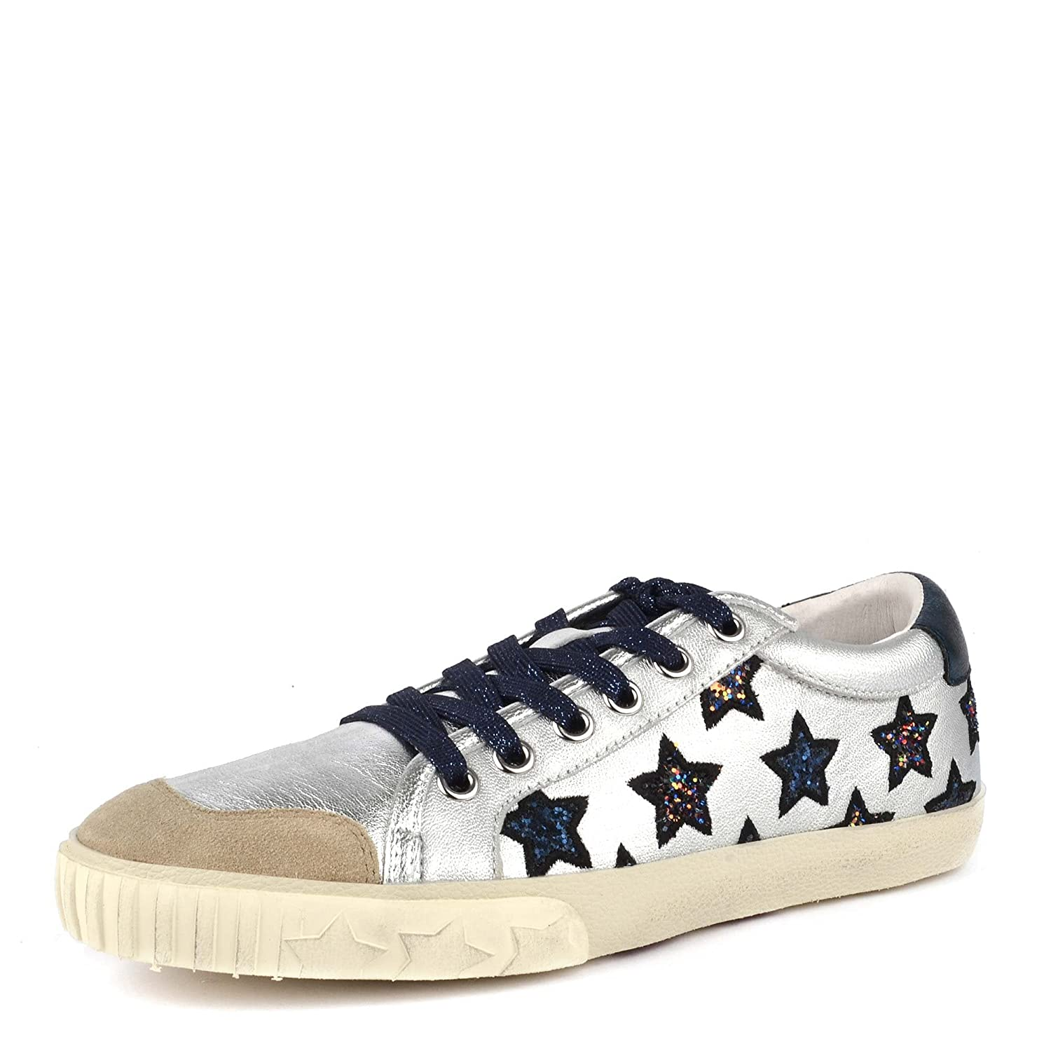 1a41ce3df4659 Ash Majestic Star Motif Trainers Silver Leather & Midnight Glitter