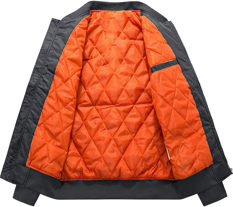 TACVASEN Herren Bomberjacke /Übergangsjacke Winter Wattiert College Jacke Stehkragen Fliegerjacke Bomber Piloten Jacket mit Taschen