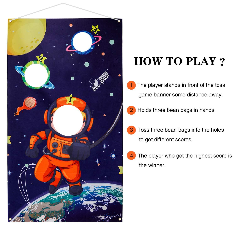 Astronaut H/ängend Werfen Spiel mit 3 Sitzs/äcken f/ür Drau/ßen Drinnen Erwachsene Kinder Party Spiele Aktivit/äten Zubeh/ör Dekoration Howaf Weltraum Sonnensystem Wurfspiele Set f/ür Kinder