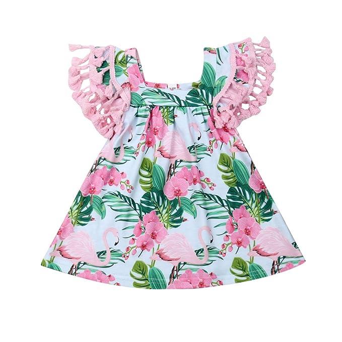 Amazon.com: Bebé Niña Flamingo Puños Pompón Flecos Borla ...