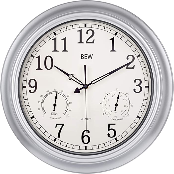 BEW Large Outdoor Clock, Waterproof Outdoor Clock with Thermometer and Hygrometer Combo, Weather Resistant, Silent Metal Battery Operated Pool Clock for Garden, Patio, Fence, Porch (18-Inch, Silver)