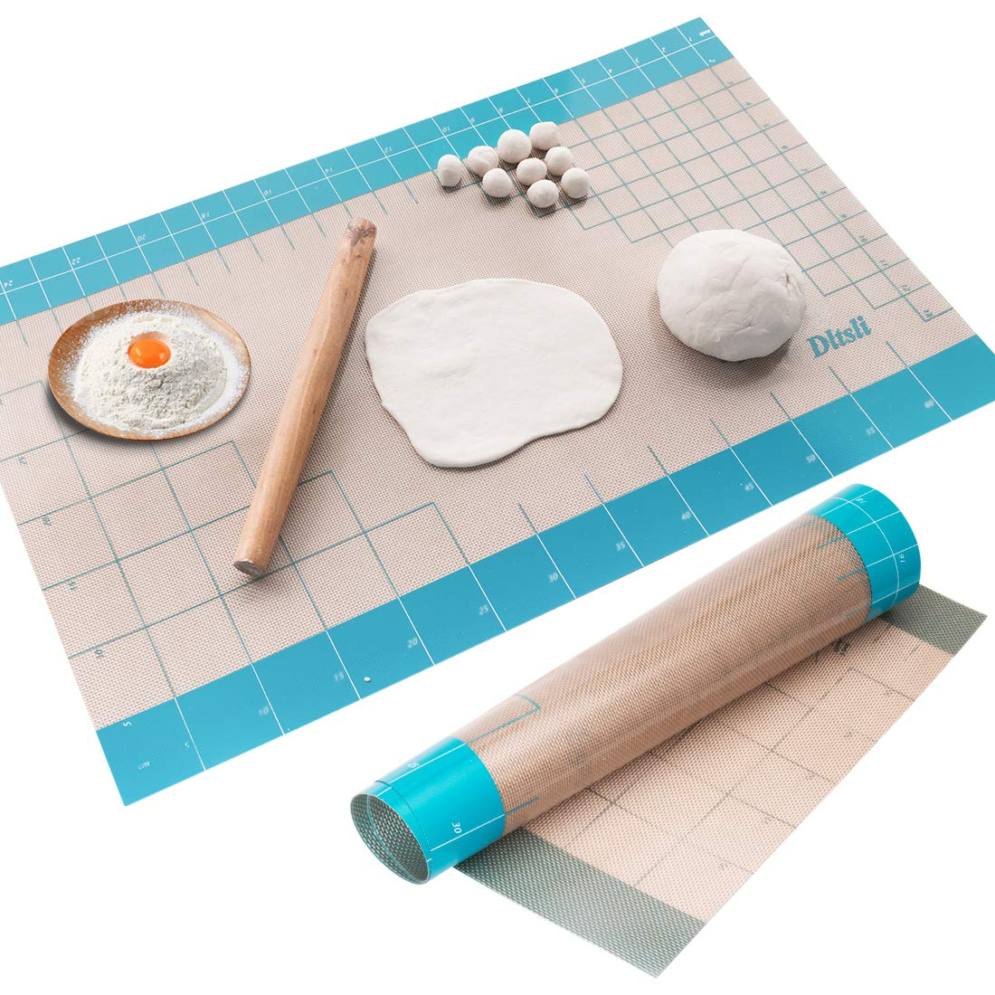 "26"" x 16"" Silicone Baking Pastry Fondant Mat with Measurements for Baking Dough Rolling Mat Countertop Mat Oven Liner"