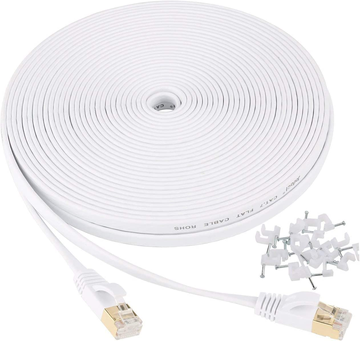Cat 7 Ethernet Cable 25 ft Shielded - Solid Flat Internet Network Computer Patch Cord, Faster Than Cat5e/Cat5/cat6 Network, Slim Cat7 High Speed LAN Wire with Rj45 Connectors for Router, Modem – White: Computers & Accessories