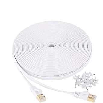 Modem,Xbox,Black Cat 7 Ethernet Cable 100 ft,Durable High Speed Flat Internet Network Computer Cord,Faster Than Cat6 Cat5e Cat5 Network,High Speed Slim Cat7 LAN Wire with Rj45 Connectors for Router