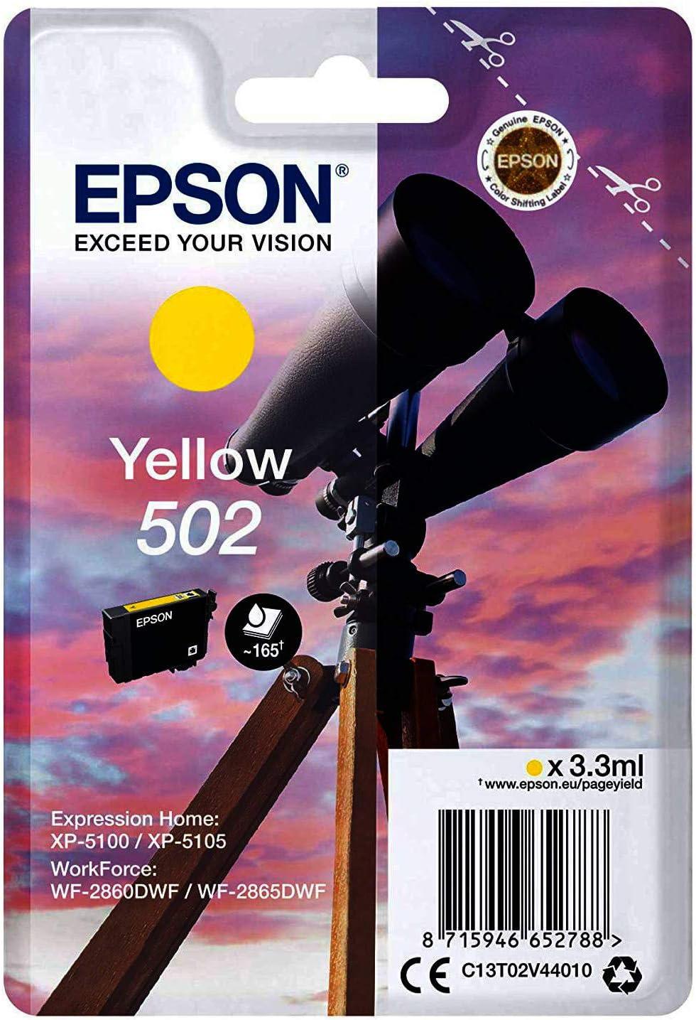 Epson Original 502 Tinte Fernglas Xp 5100 Xp 5105 Wf 2860dwf Wf 2865dwf Amazon Dash Replenishment Fähig Gelb Standard Normalverpackung Bürobedarf Schreibwaren